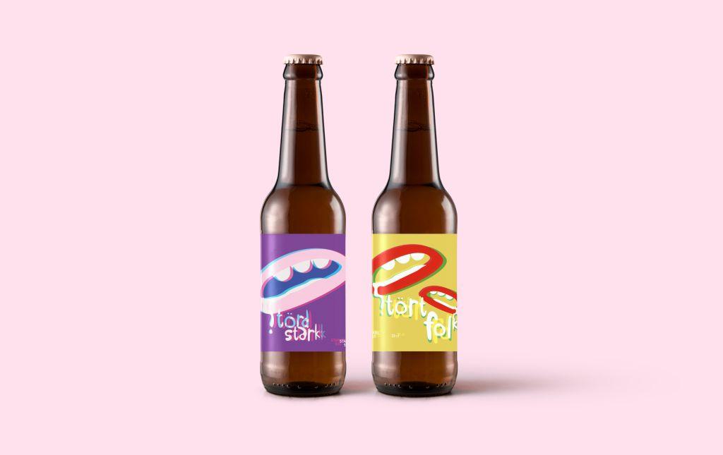 Två flaskor öl, Störd Stark och Stört folk, rosa bakgrund.