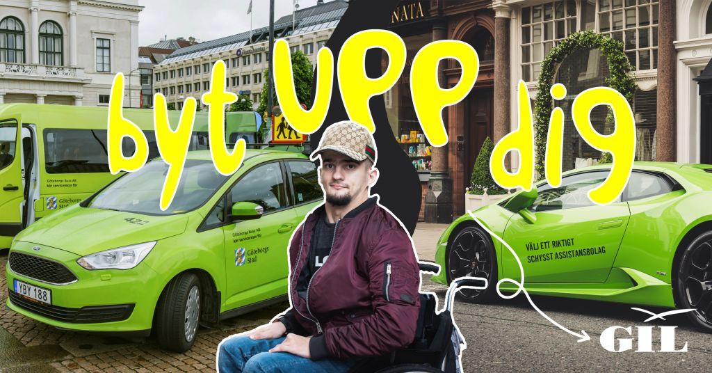 Kille i rullstol, på ena sidan grön färdtjänstbuss, på andra sidan grön lambourigini, text: Byt upp dig