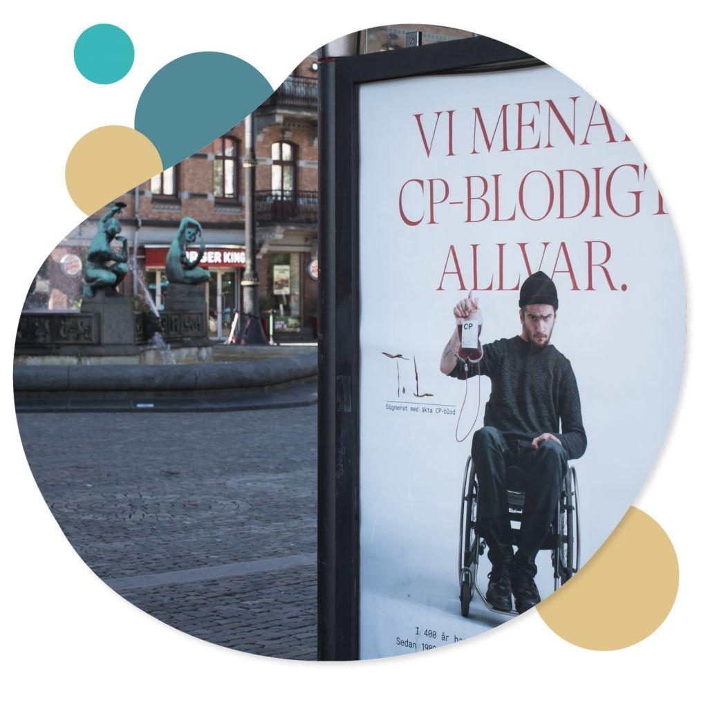 Grafik där man ser delar av en affisch och järntorget i Göteborg